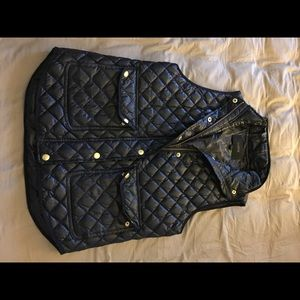 J. Crew shiny navy quilted puffer vest navy